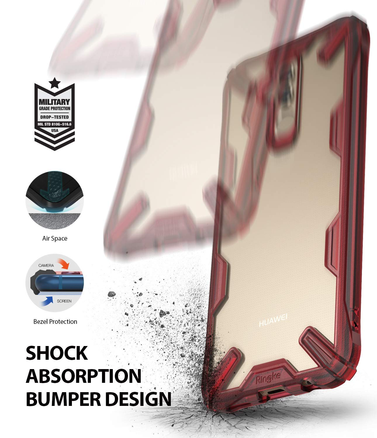 shock absorption bumper technology featuring military grade drop protection