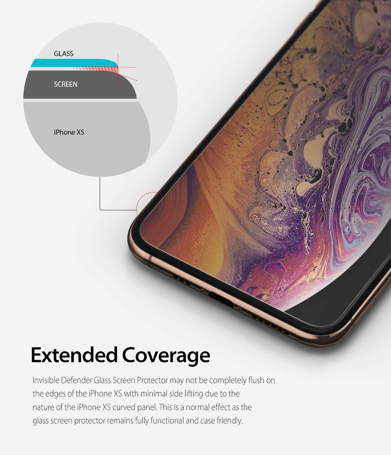 ringke invisible defender for iphone xs tempered glass screen protector extended coverage
