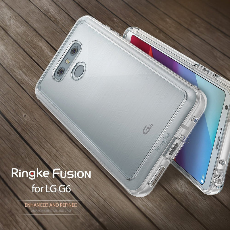 LG G6 Case, Ringke® [FUSION] Crystal Clear PC Back TPU Bumper Case