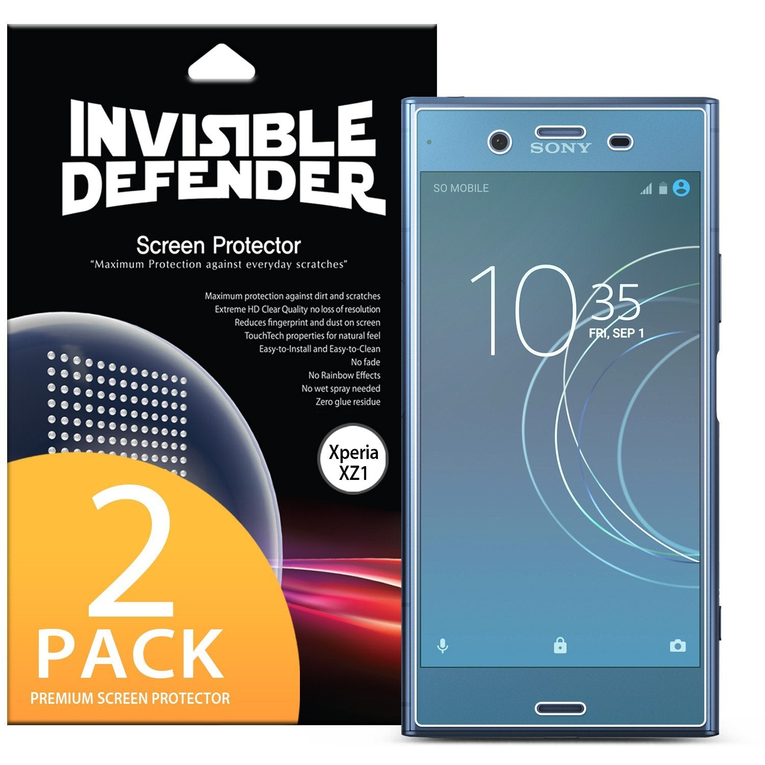 sony xperia xz1 ringke full coverage 2 pack screen protector