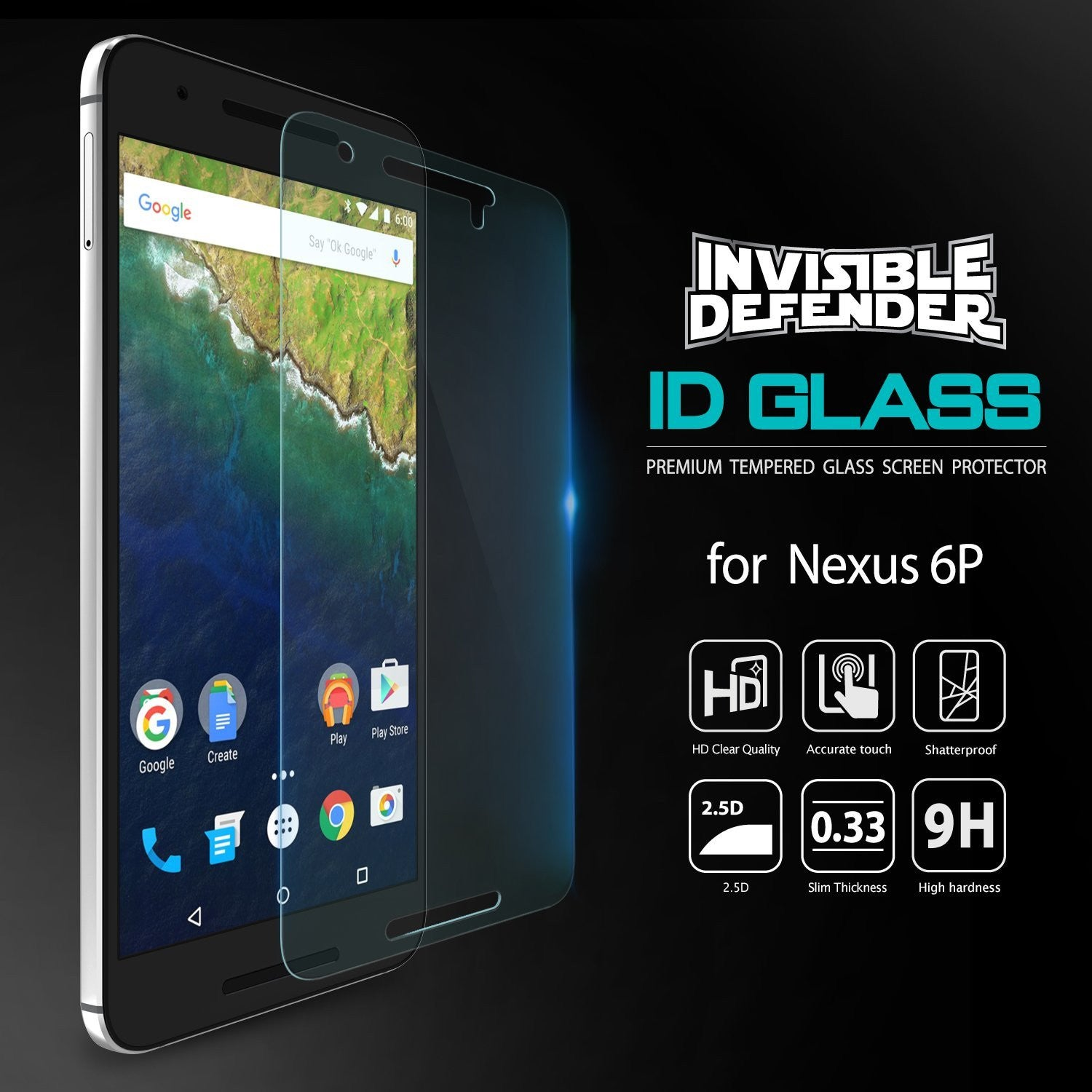 ringke tempered glass invisible defender screen protector for google nexus 6p main