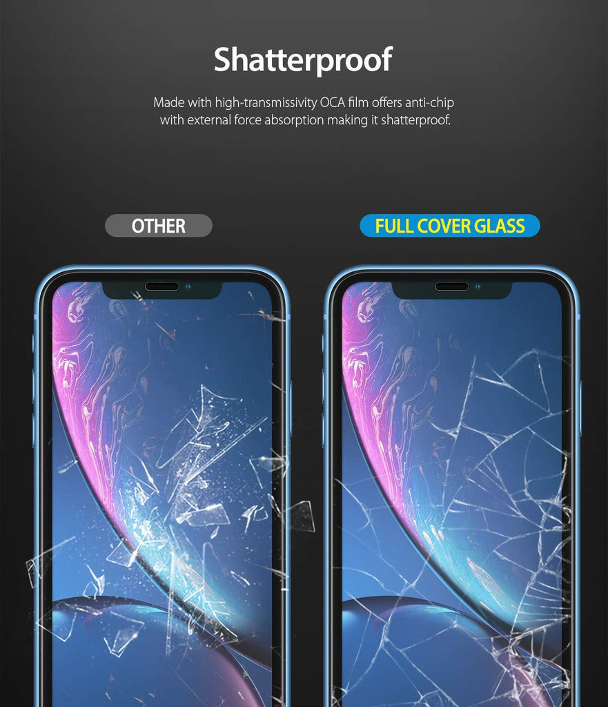 iphone xr invisible defender full coverage tempered glass 1 pack