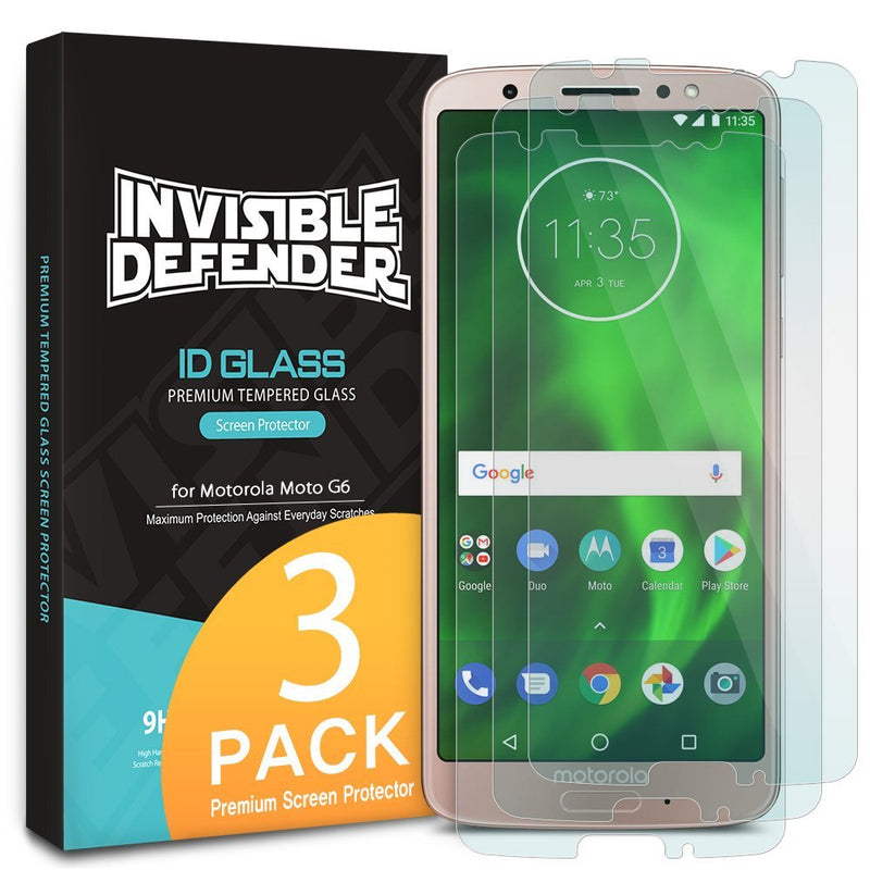 Moto G6 [INVISIBLE DEFENDER] Tempered Glass Screen Protector