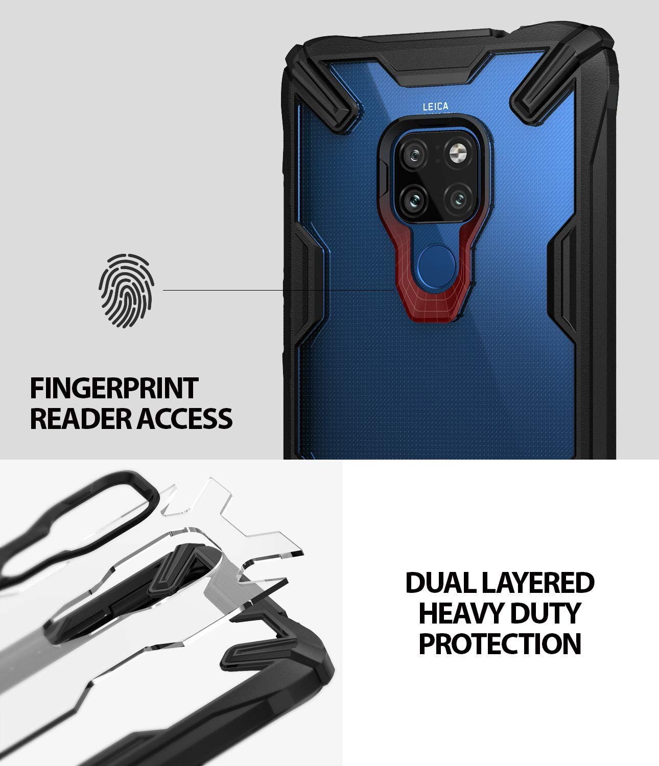 fingerprint reader access / dual layered heavy duty protection