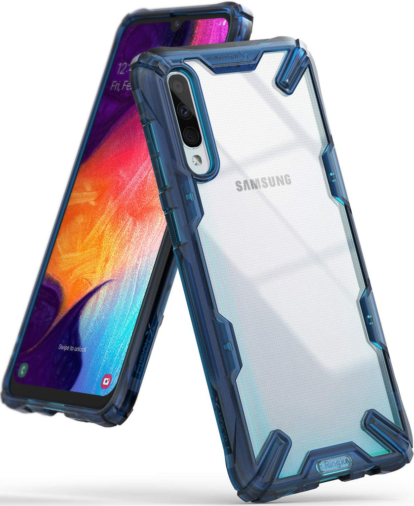 galaxy a50, ringke fusion-x case, space blue