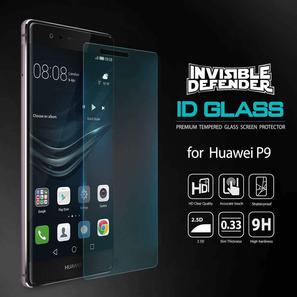 huawei p9, ringke invisible defender 0.33mm tempered glass screen protector