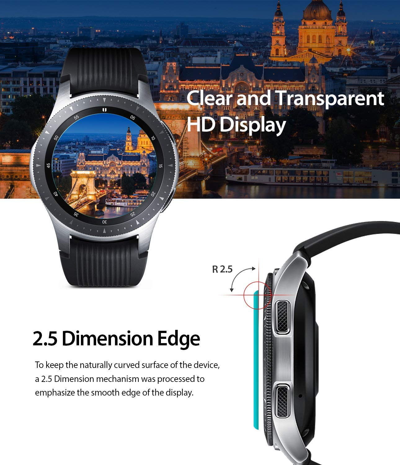 samsung galaxy watch mm gear s3 invisible defender glass clear and transparent with 2.5D curved edge