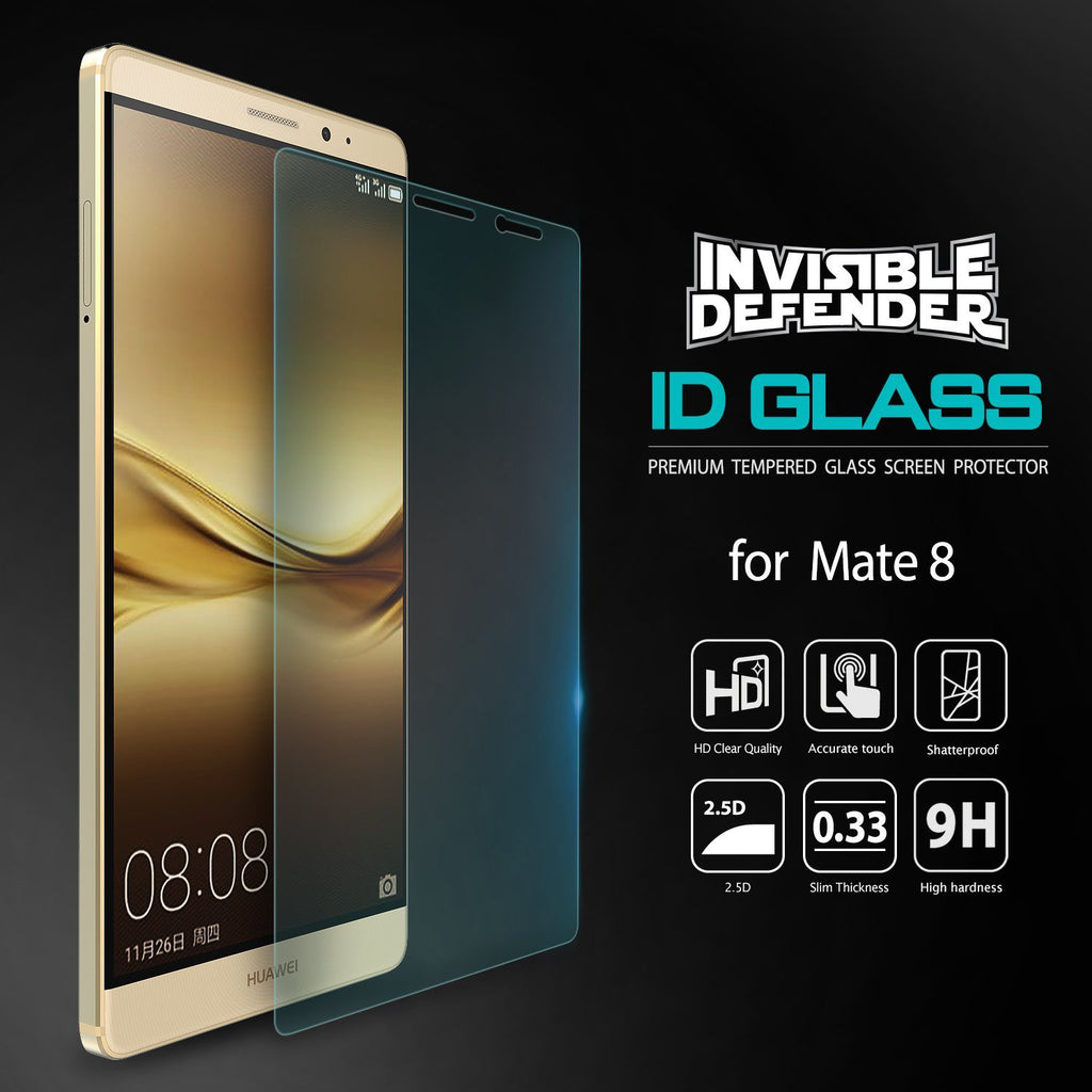 huawei mate 8, ringke invisible defender 0.33mm tempered glass screen protector