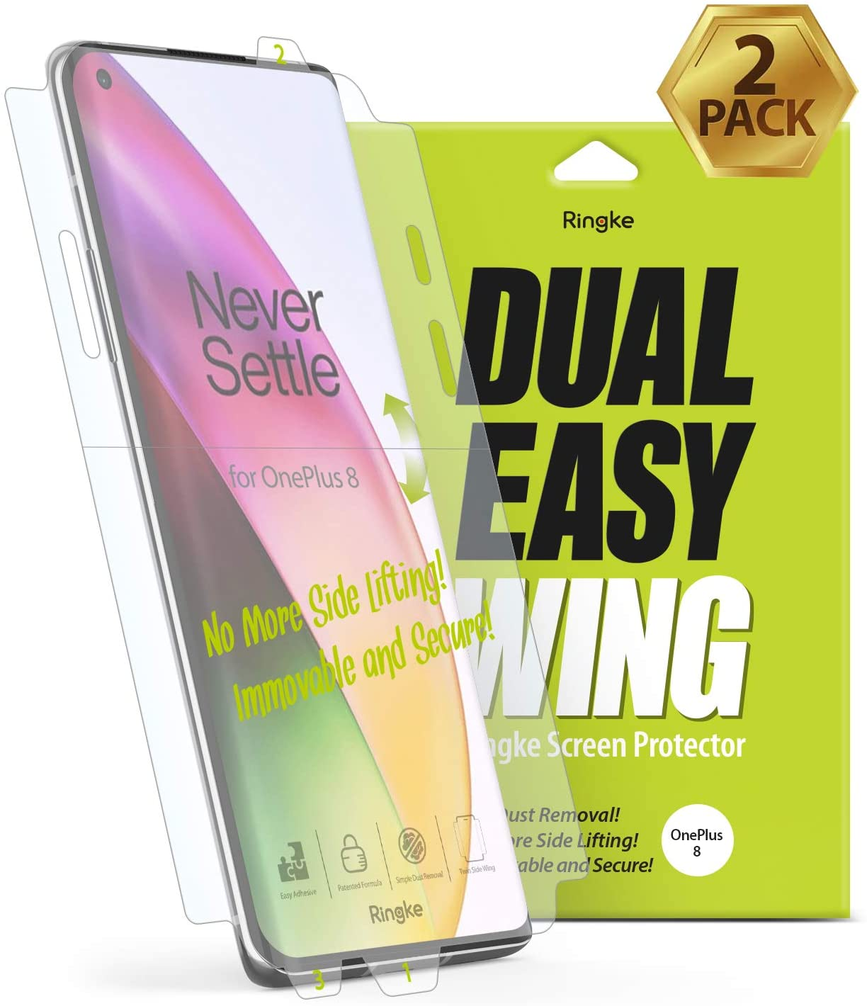 ringke dual easy wing film for oneplus 8 screen protector