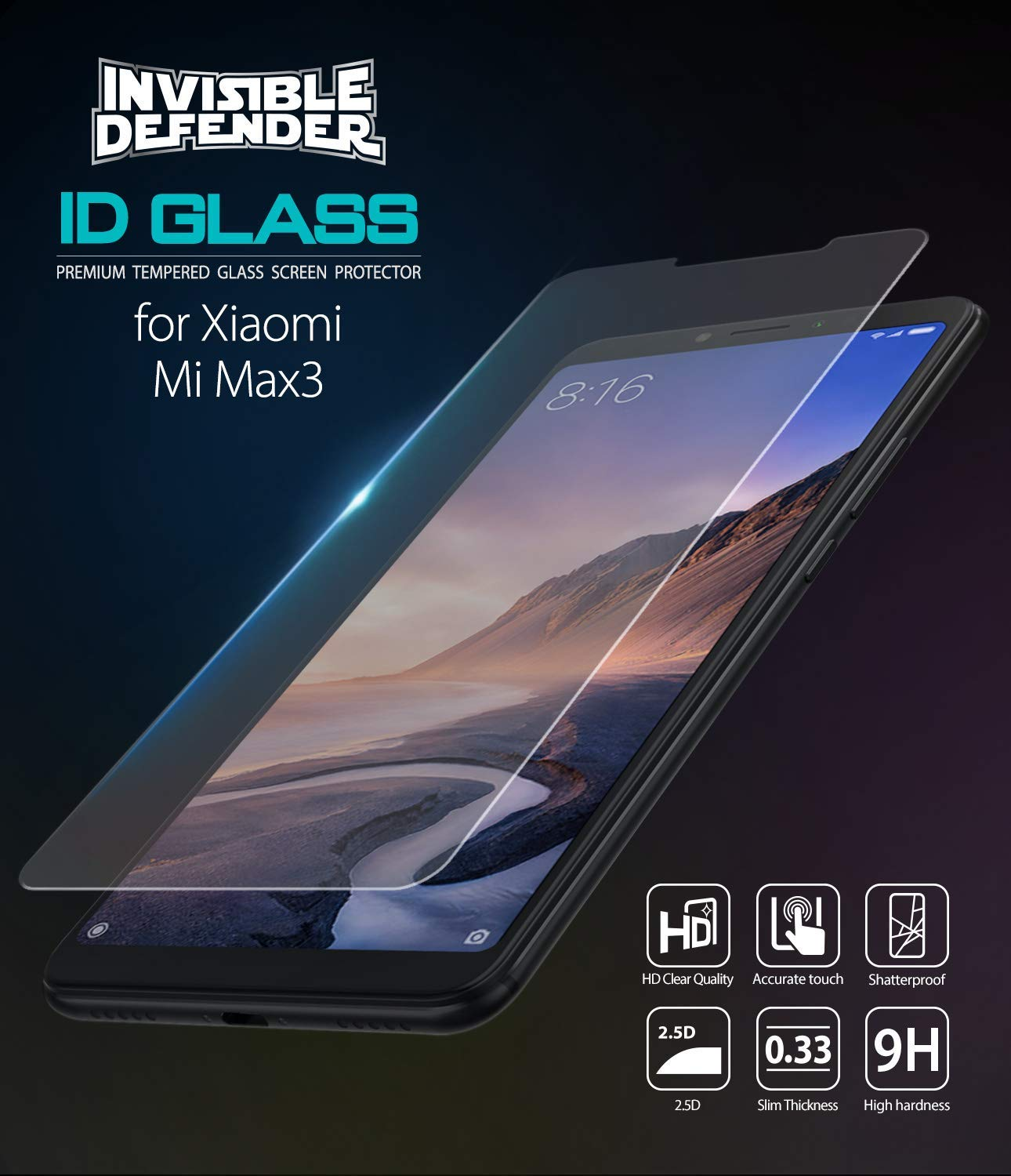 xiaomi mi max 3 invisible defender glass