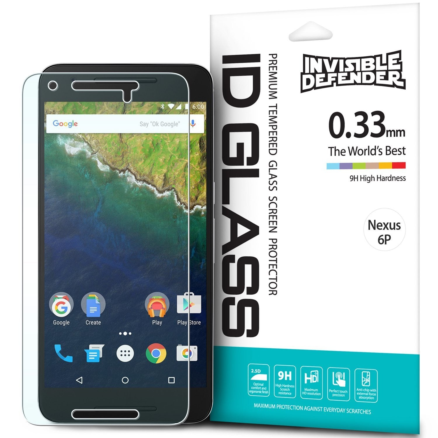 Nexus 6P, Ringke® [INVISIBLE DEFENDER] [0.33mm] Tempered Glass Screen Protector
