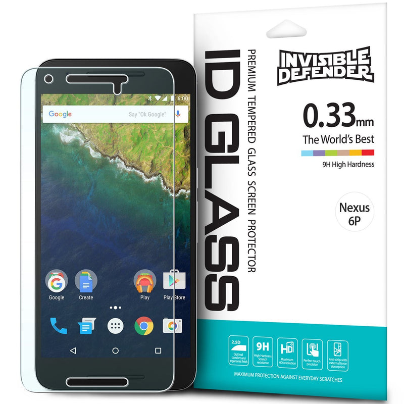 nexus 6p, ringke invisible defender 0.33mm tempered glass screen protector