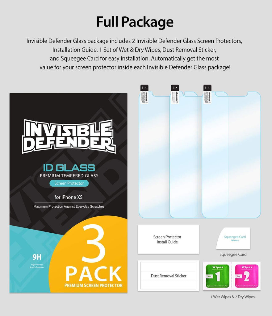 ringke invisible defender for iphone xs tempered glass screen protector full package