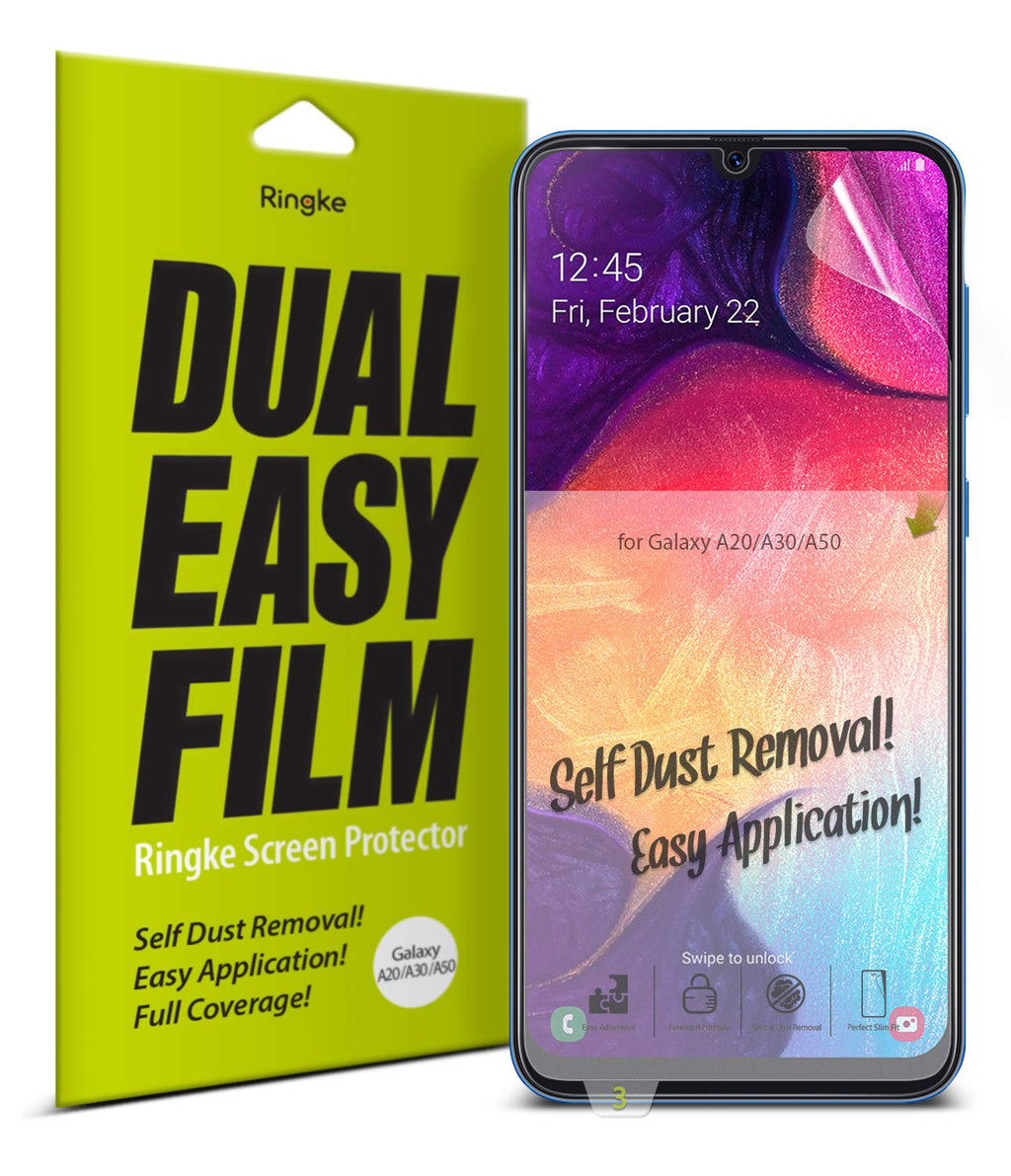 Ringke Dual Easy Film [2 Pack] Compatible with Galaxy A20