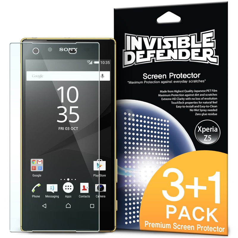 xperia z5, ringke invisible defender 3+1 pack screen protector