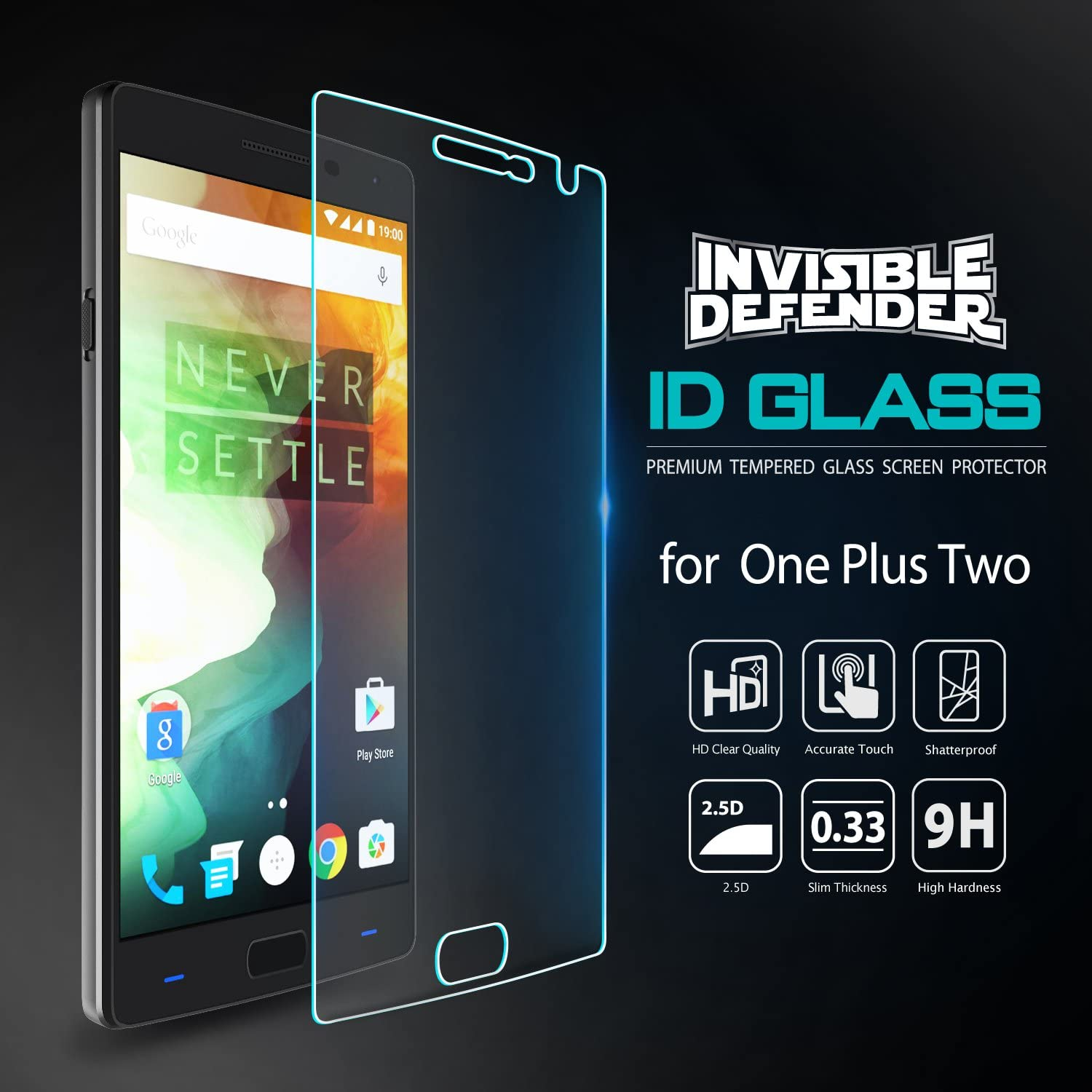 invisible defender tempered glass - oneplus 2 screen protector