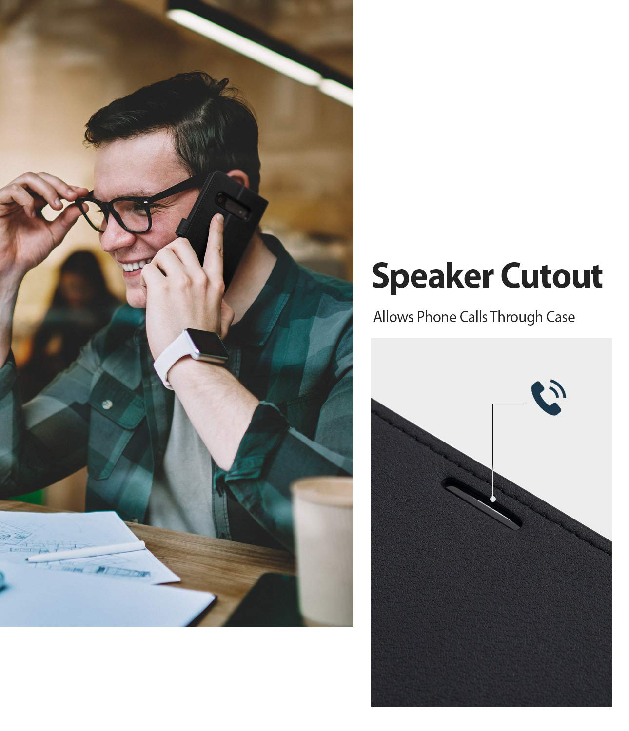 speaker cutout allows phone calls trough case