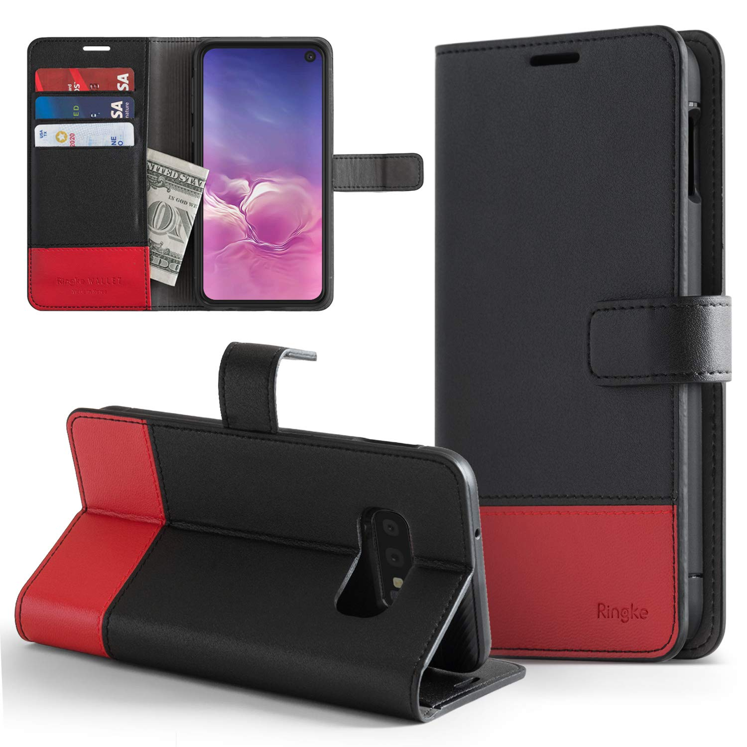 ringke wallet designed for samsung galaxy s10e black and red