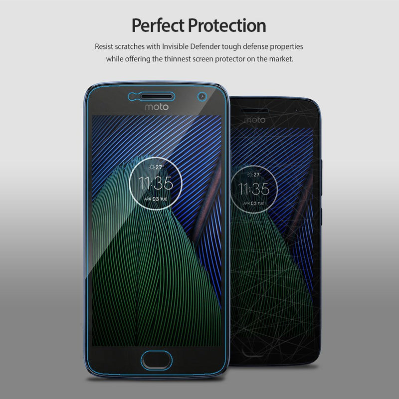 Motorola Moto G5 Plus, Ringke® [INVISIBLE DEFENDER] 4-Pack HD Clearness Screen Protector