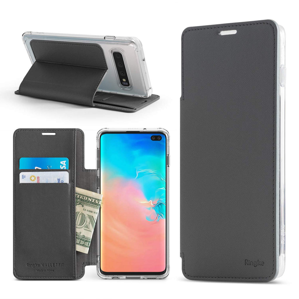 galaxy s10 plus wallet fit case ash gray