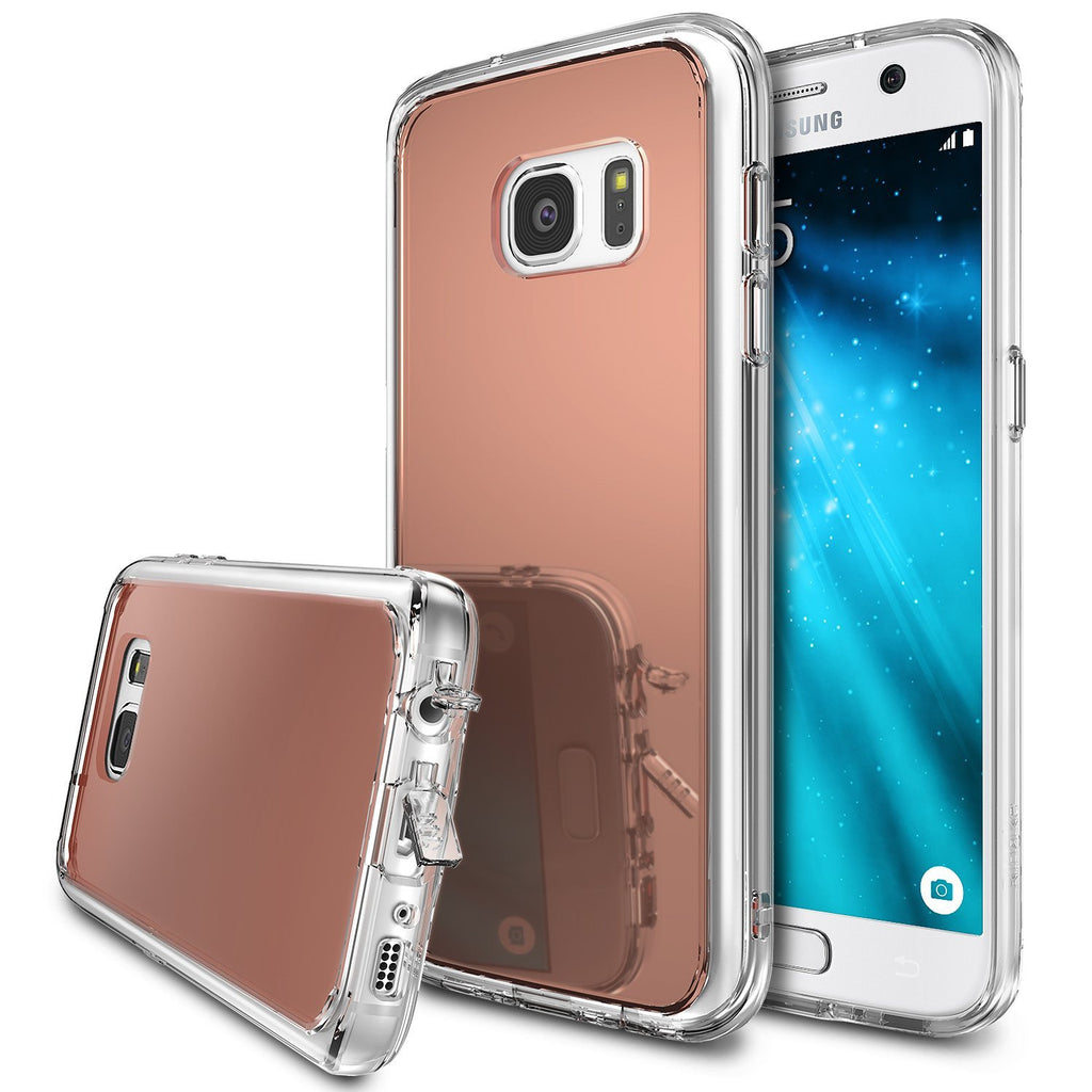 ringke mirror back cover case for galaxy s7 rose gold
