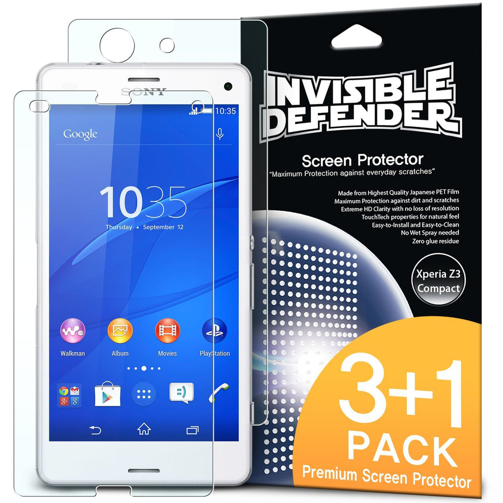 xperia z3 compact, ringke invisible defender 3+1 pack screen protector