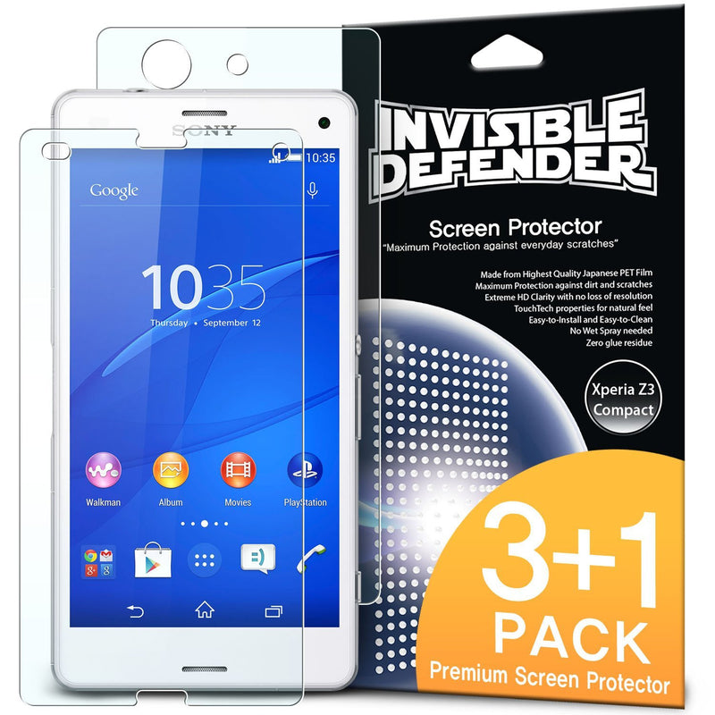 Xperia Z3 Compact, Ringke® [INVISIBLE DEFENDER] 3+1 Pack Screen Protector