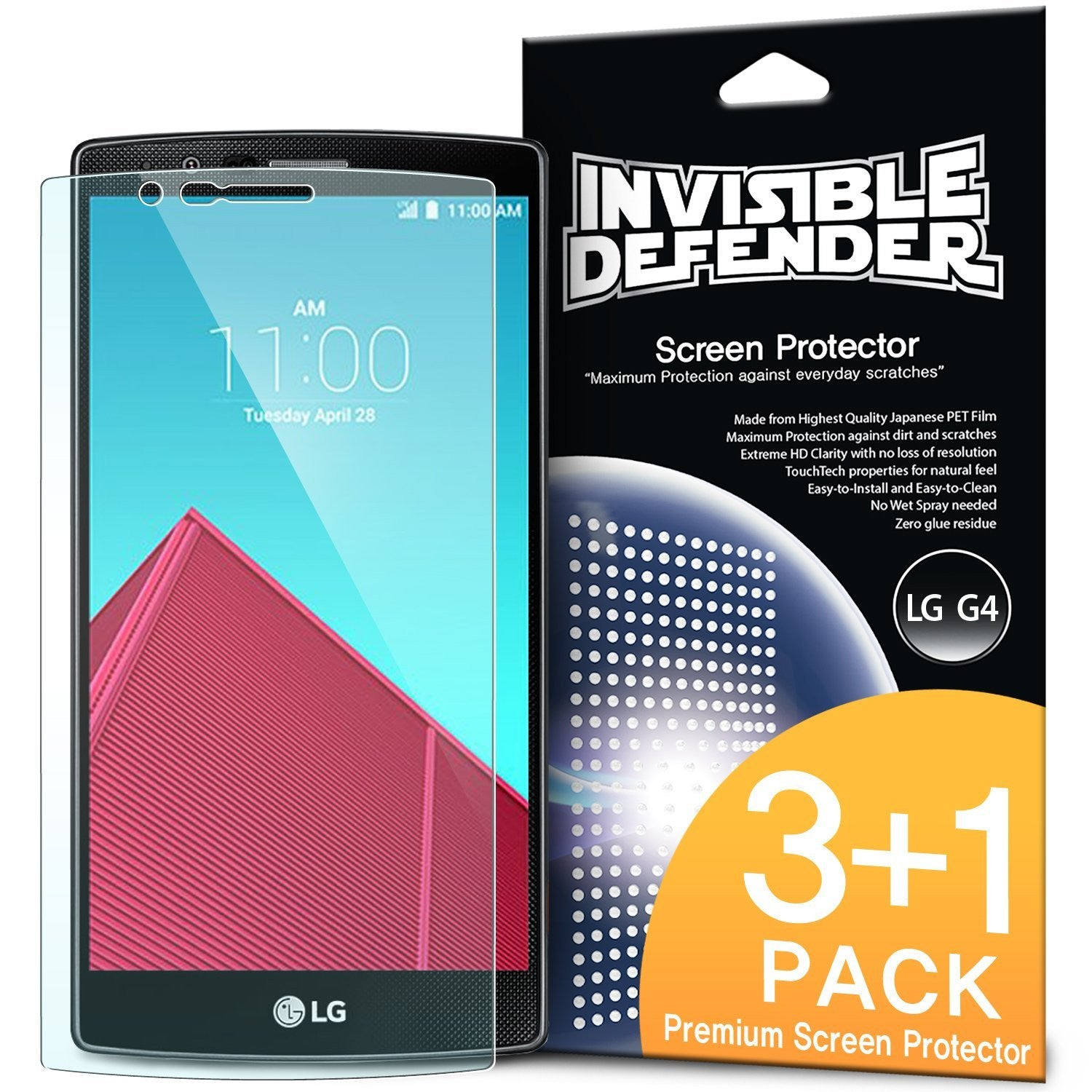 lg g4 screen protector, ringke invisible defender 3+1 pack screen protector