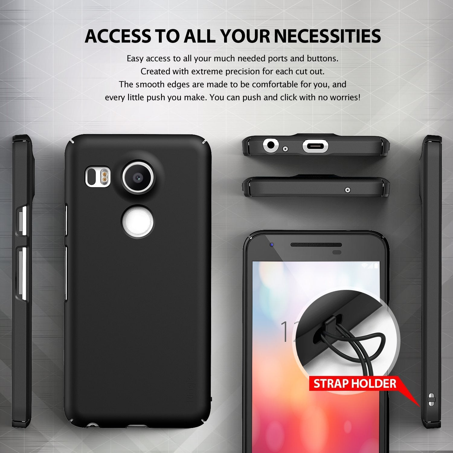 ringke slim thin lightweight hard pc back case cover for google nexus 5x main access to all ports