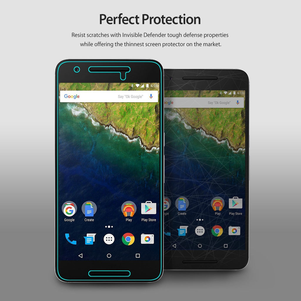 ringke invisible defender film screen protector for google nexus 6p main perfect protection