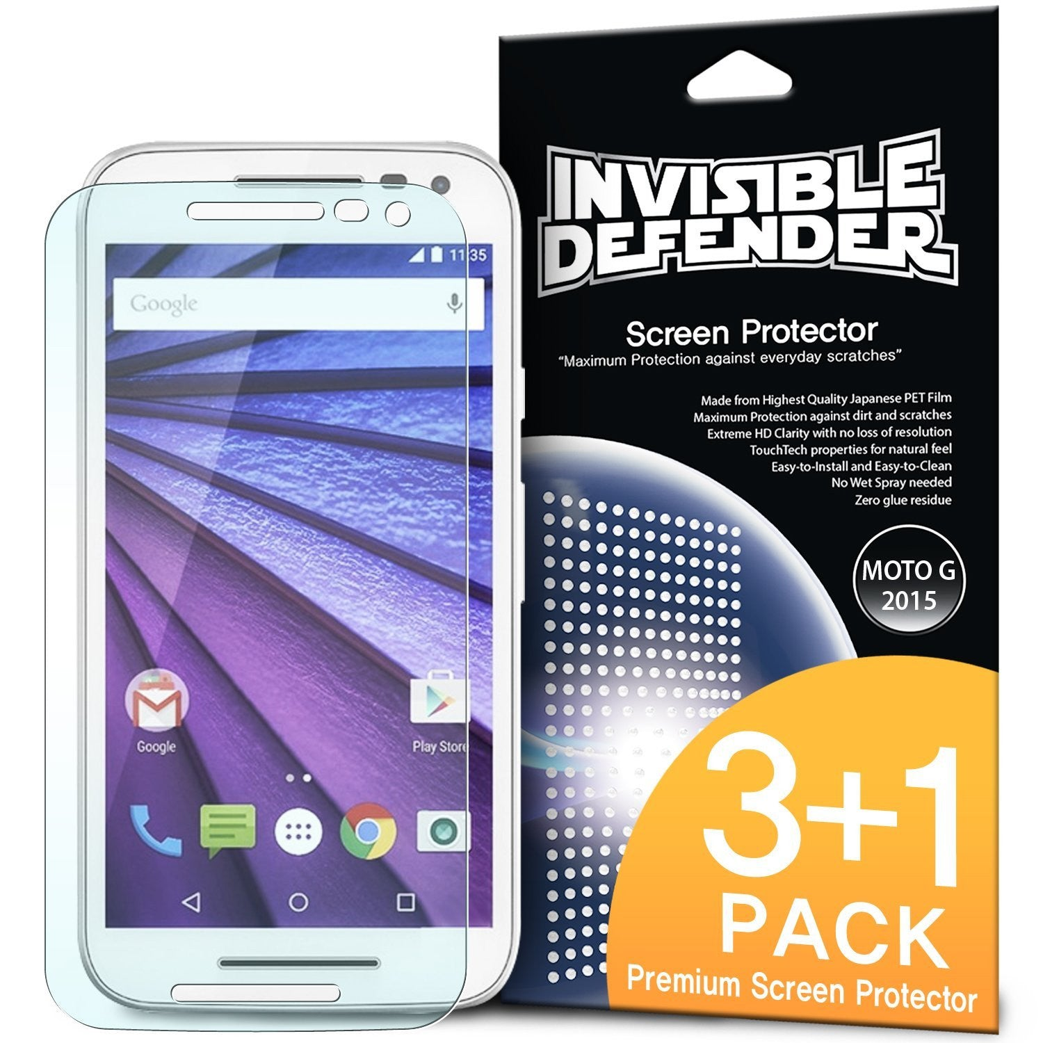 ringke invisible defender film screen protector for moto g 2015 3rd gen