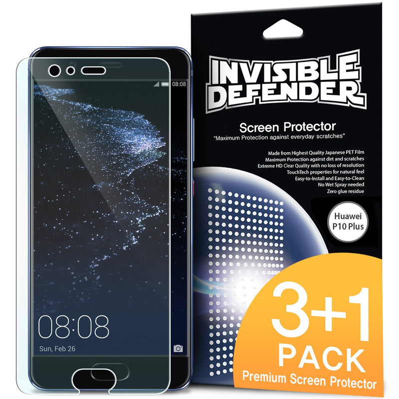 Huawei P10 Plus, Ringke® [INVISIBLE DEFENDER] 4-Pack HD Clearness Screen Protector