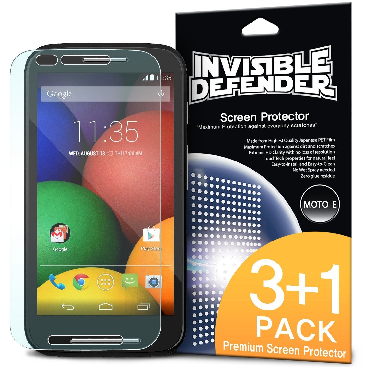 moto e 2014, ringke invisible defender 3+1 pack screen protector