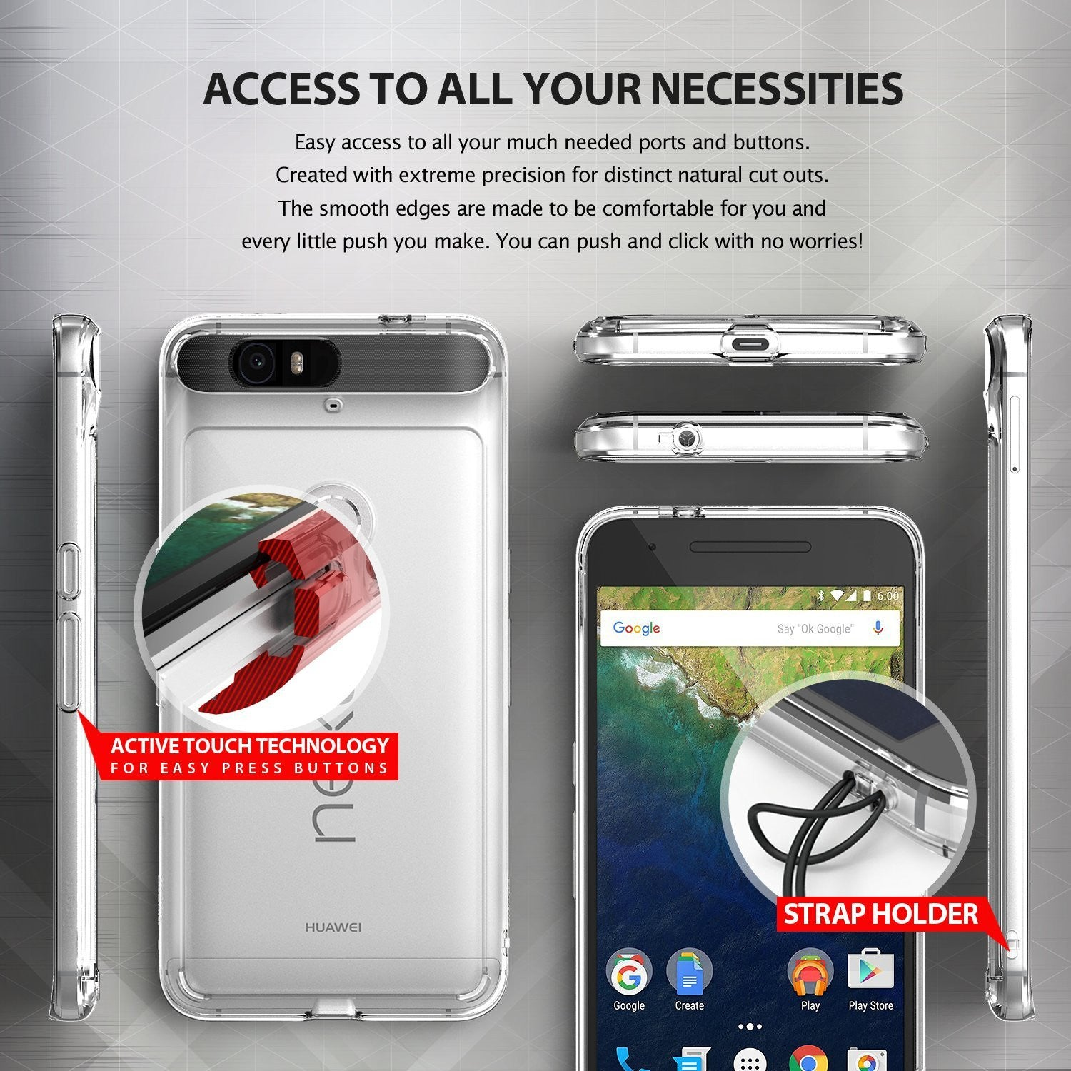 ringke fusion clear transparent hard back case cover for google nexus 6p main access to all ports