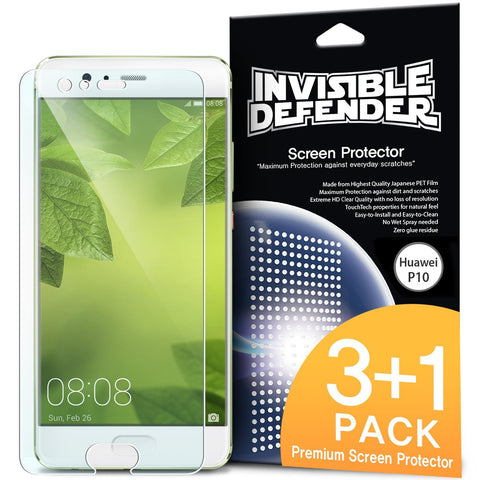 Huawei P10, Ringke®[INVISIBLE DEFENDER] 4-Pack HD Clearness Screen Protector