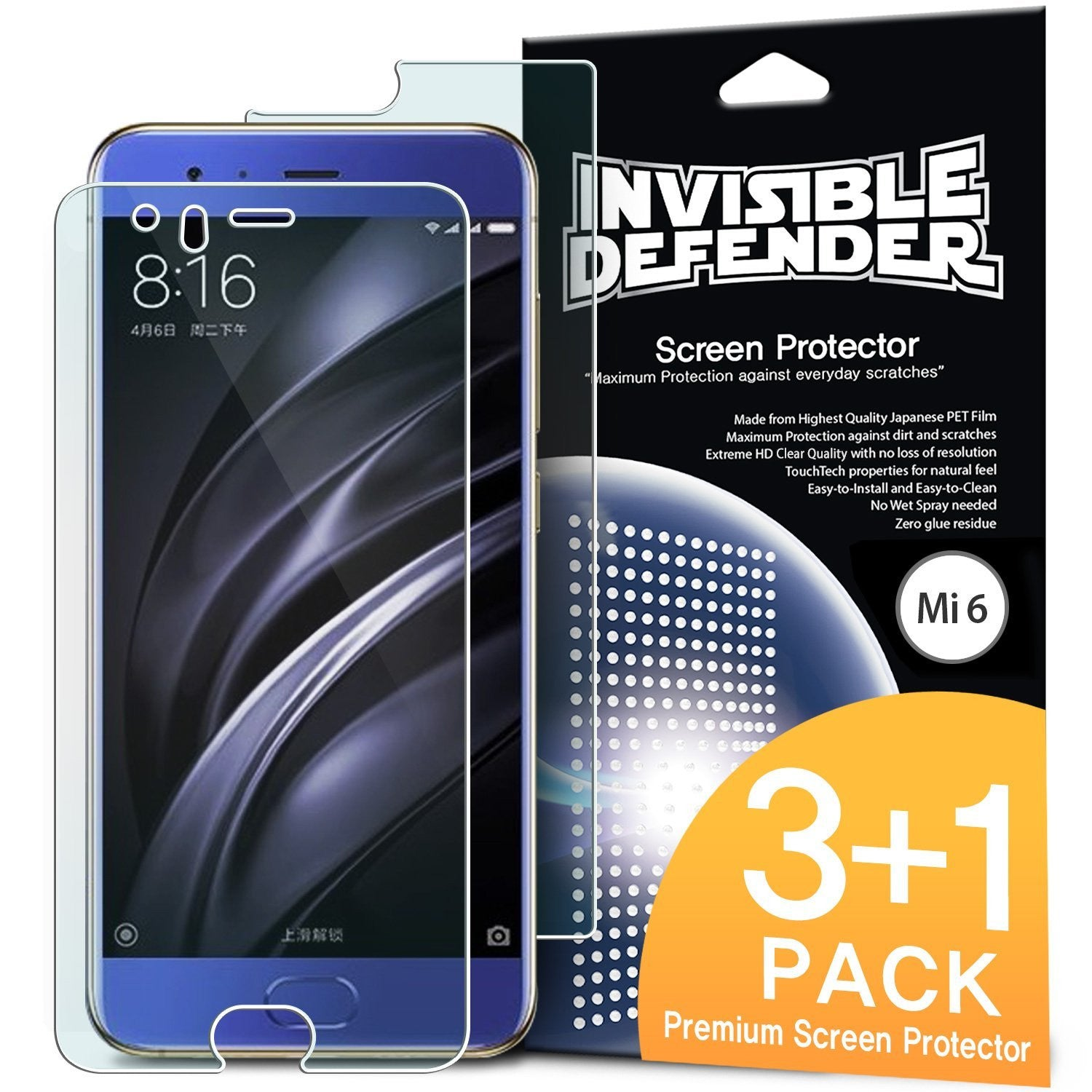 xiaomi mi6 ringke invisible defender 4 pack hd clearness screen protector