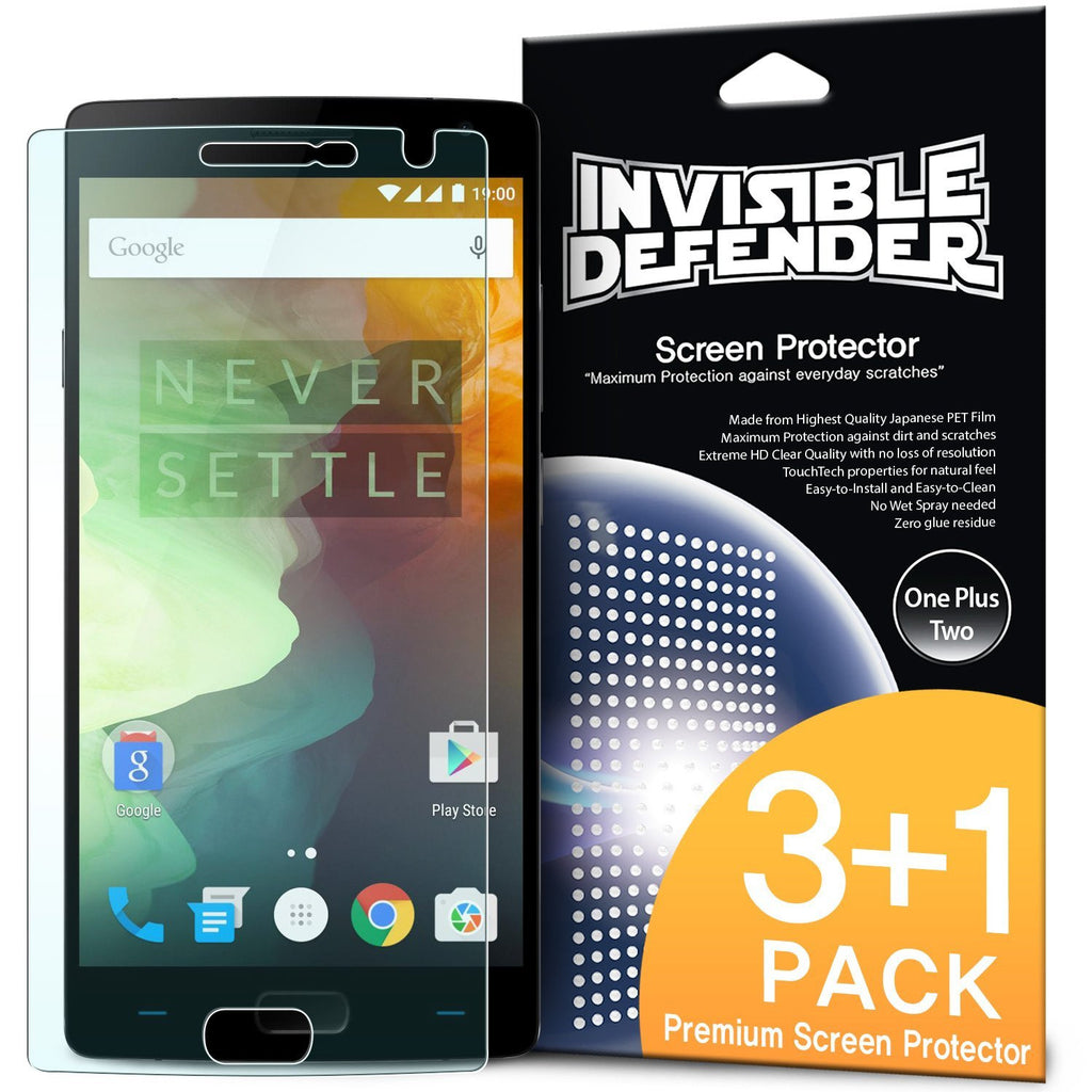 oneplus 2, ringke invisible defender 3+1 pack screen protector