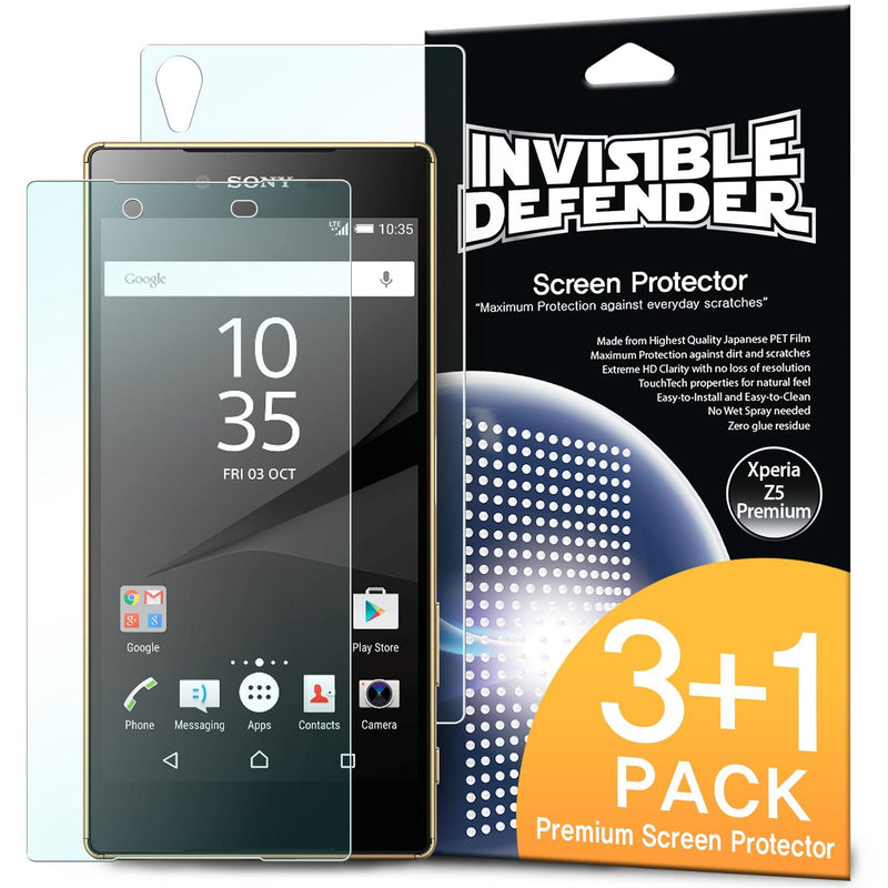 Xperia Z5 Compact, Ringke® [INVISIBLE DEFENDER] 3+1 Pack Screen Protector