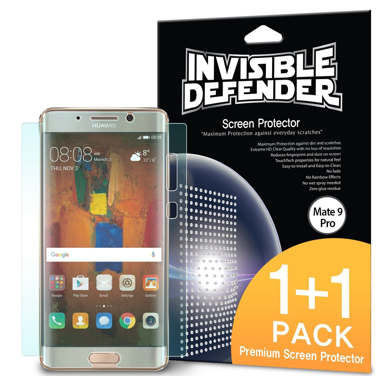 Huawei Mate 9 Pro, Ringke® Invisible Defender [Full Coverage] 2-Pack Screen Protector