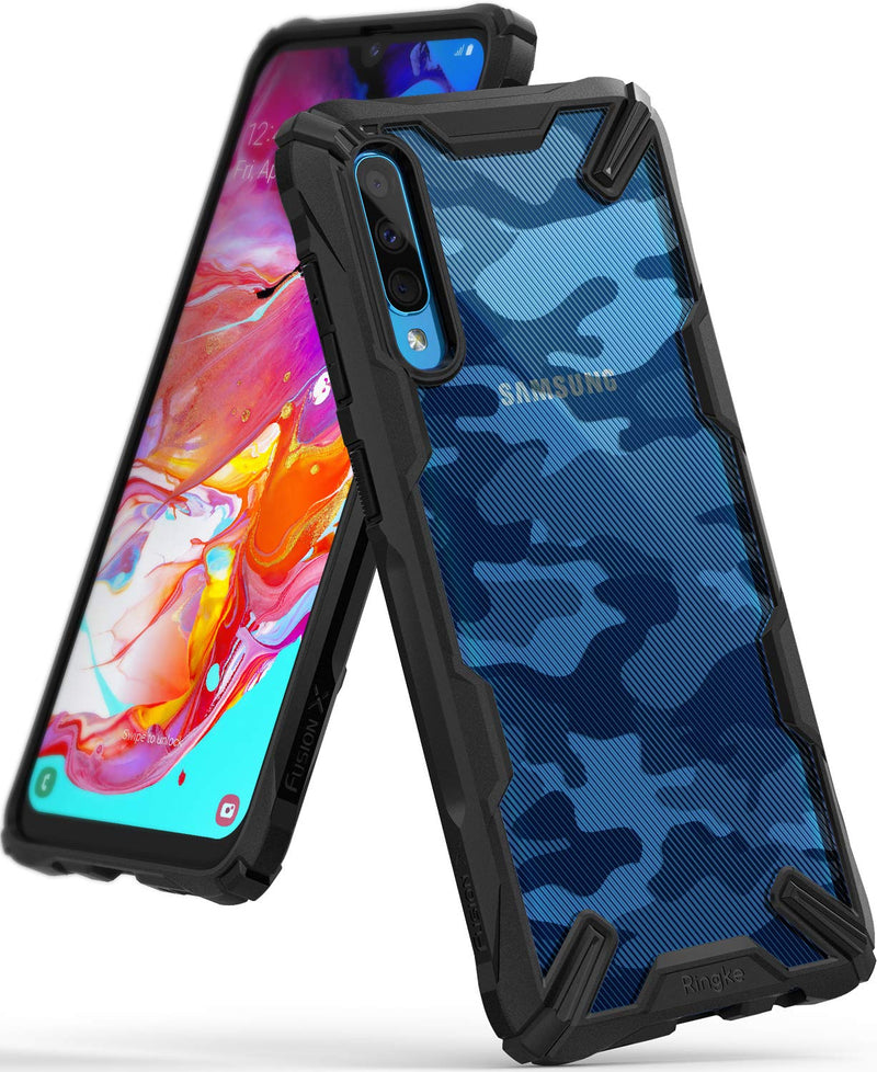 Galaxy A70, ringke fusion-x case, camo black, design case