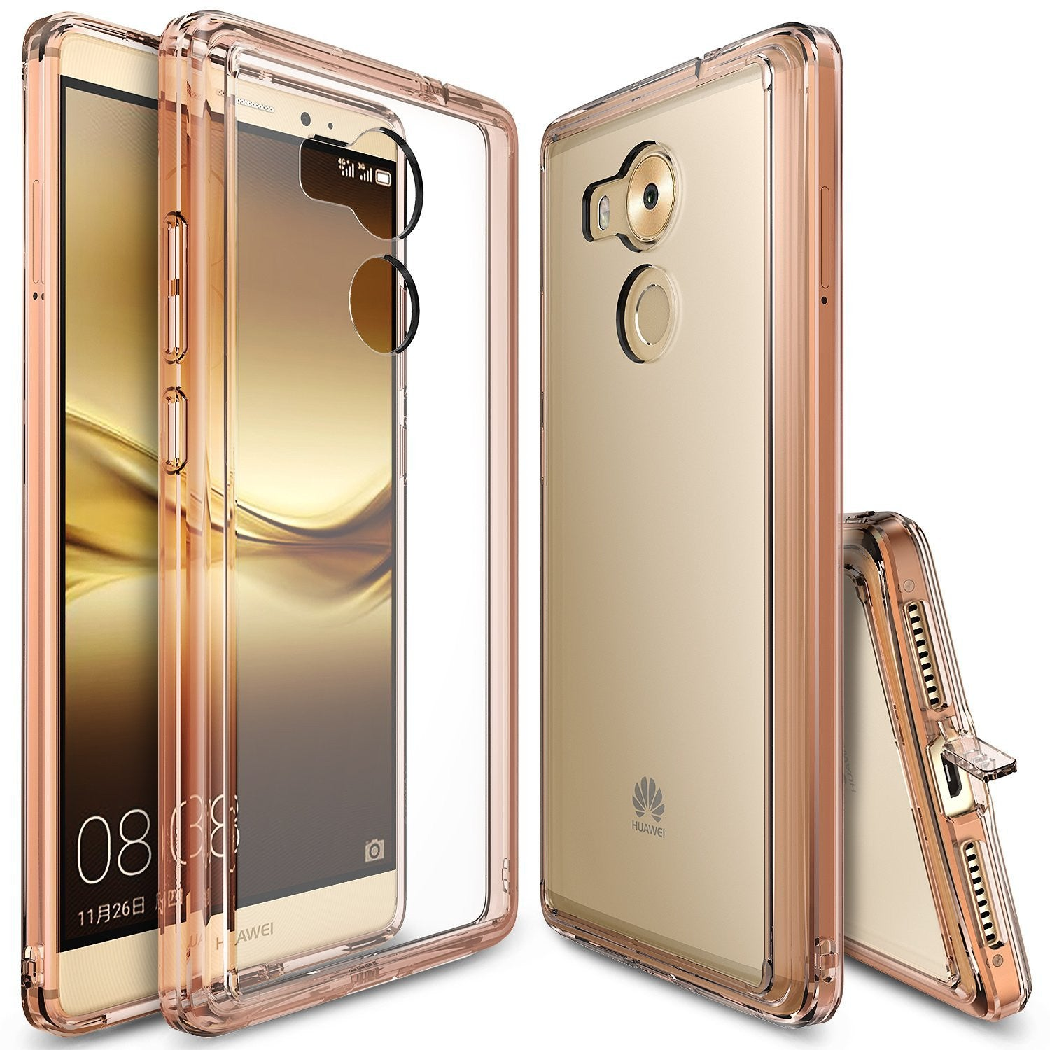 huawei mate 8 case, ringke fusion case crystal clear pc back tpu bumper case - rose gold