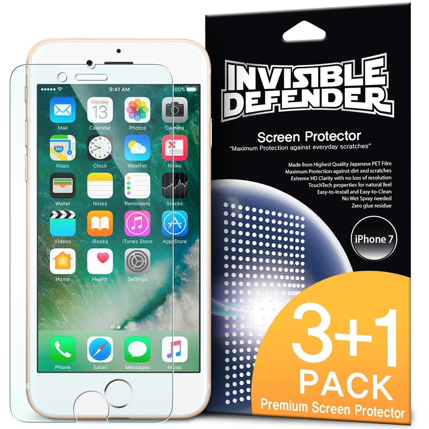 ringke invisible defender screen protector film for iphone 7 plus 8 plus main 4 pack