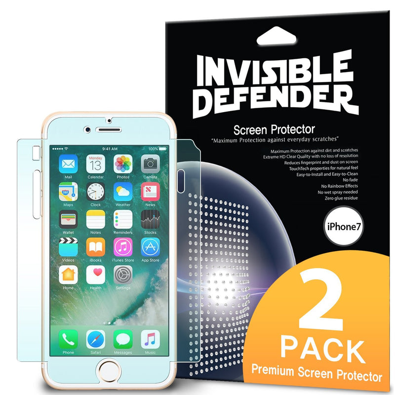 iPhone 7, Ringke® [Invisible Defender [Full Coverage] 2-Pack Screen Protector
