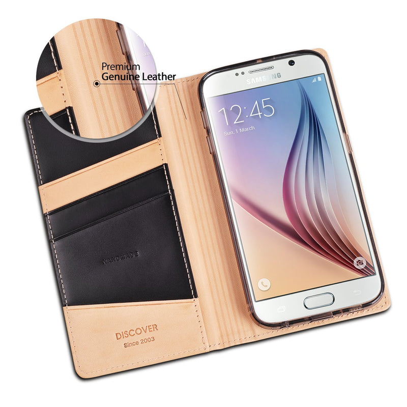 Galaxy S6 Case, Ringke® [DISCOVER] Premium Genuine Leather Standing View Diary Case