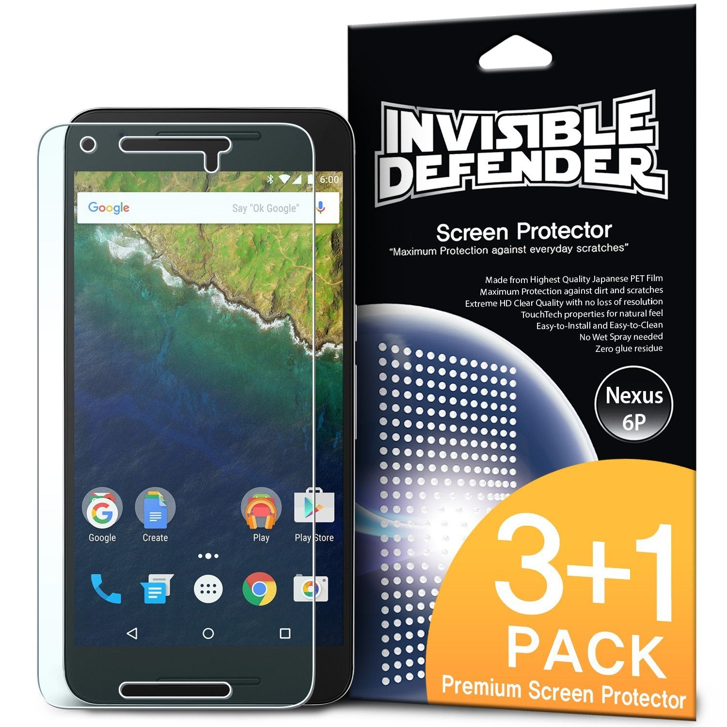 ringke invisible defender film screen protector for google nexus 6p main
