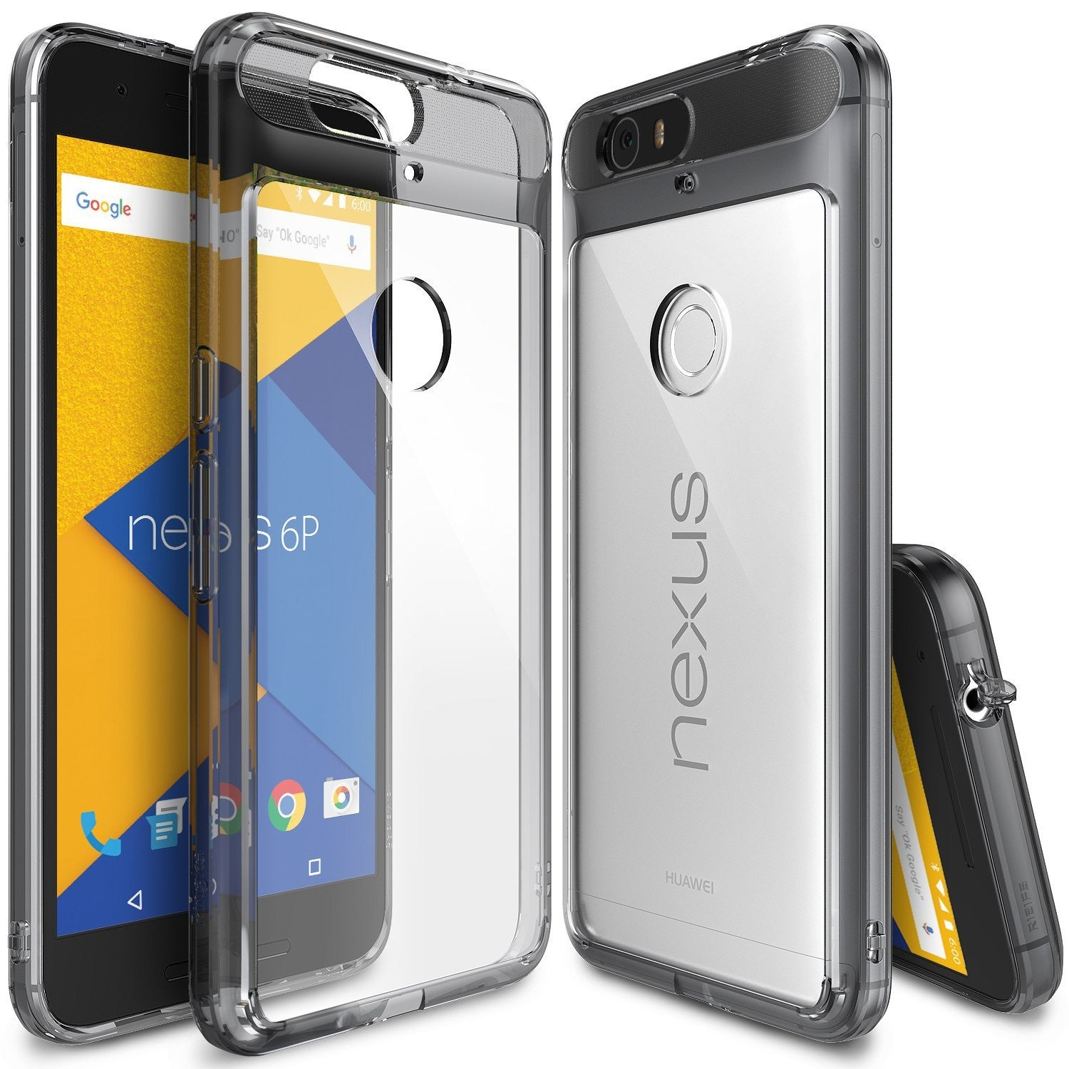 ringke fusion clear transparent hard back case cover for google nexus 6p main smoke black