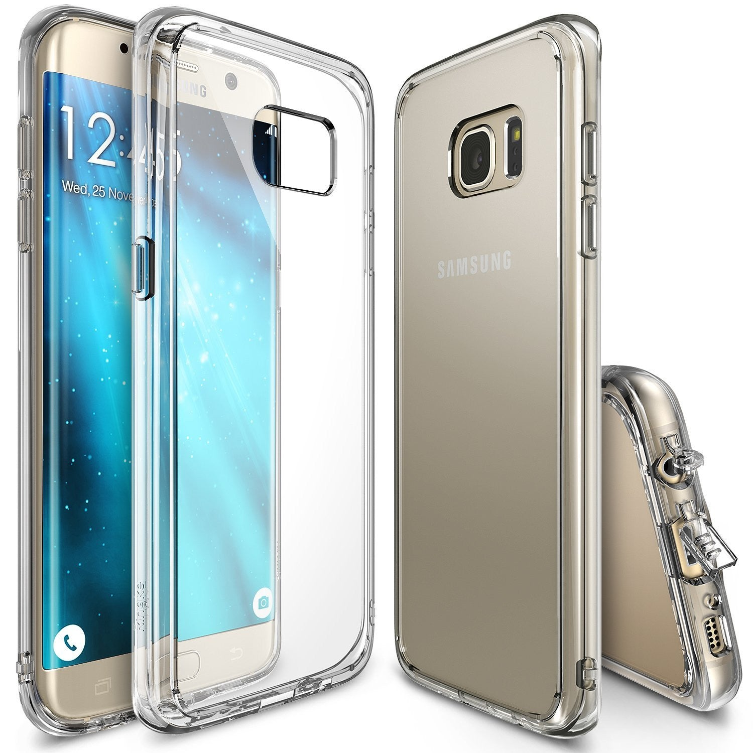 ringke fusion clear transparent back tpu frame cover case for galaxy s7 edge clear