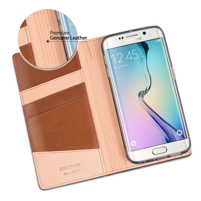 Galaxy S6 Edge Case, Ringke® [DISCOVER] Premium Genuine Leather Standing View Diary Case