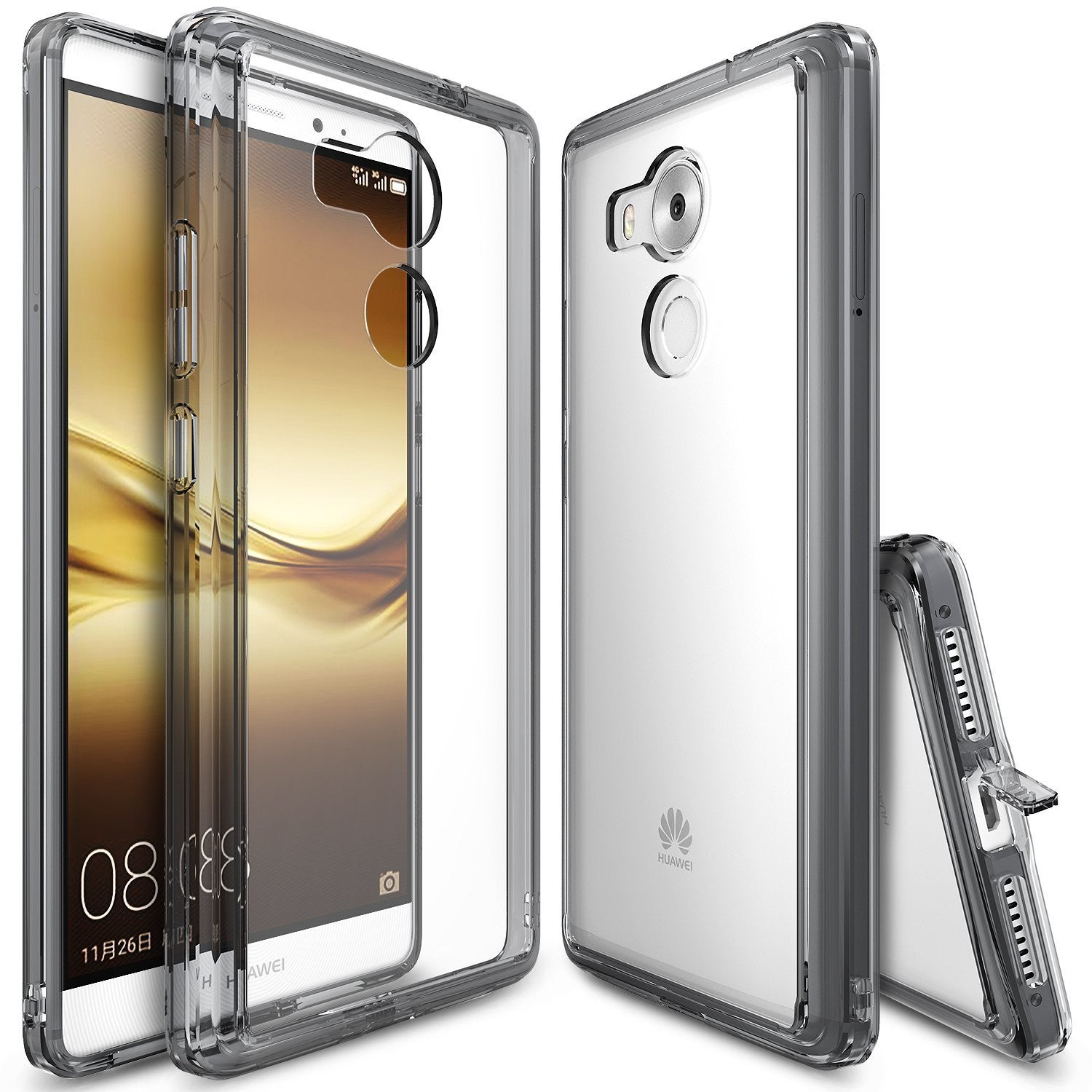 huawei mate 8 case, ringke fusion case crystal clear pc back tpu bumper case - smoke black