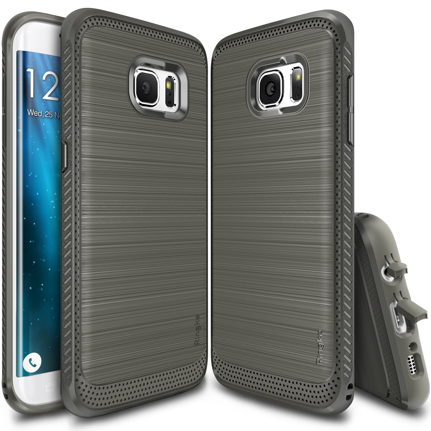 ringke onyx rugged flexible tpu shockproof cover case for galaxy s7 edge mist gray